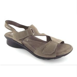 Mephisto Taupe Nubuck Ankle Strap Sling Sandals 38